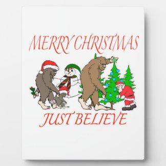 Bigfoot Family Christmas 2 Plaque