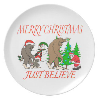 Bigfoot Family Christmas 2 Plates