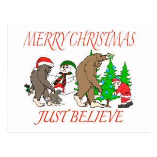 Bigfoot Family Christmas 2 Postcard