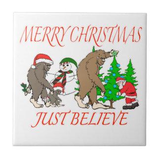 Bigfoot Family Christmas 2 Tile