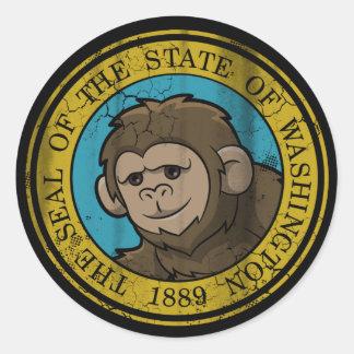 Bigfoot Flag of Washington Classic Round Sticker