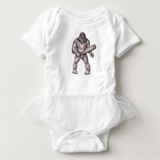 Bigfoot Holding Club Standing Tattoo Baby Bodysuit