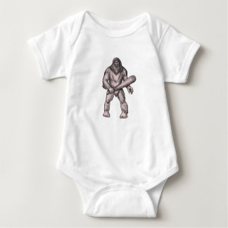 Bigfoot Holding Club Standing Tattoo Baby Bodysuit