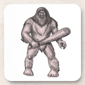 Bigfoot Holding Club Standing Tattoo Coaster
