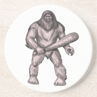 Bigfoot Holding Club Standing Tattoo Coaster