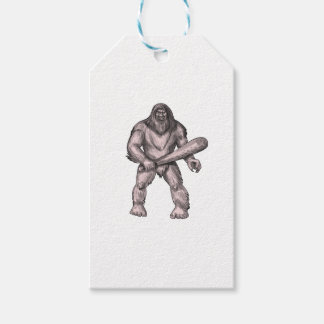 Bigfoot Holding Club Standing Tattoo Gift Tags