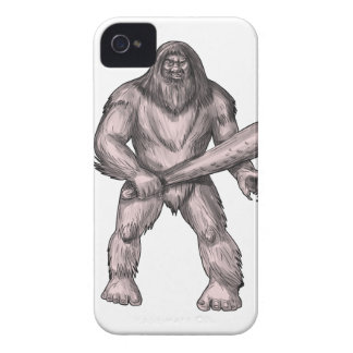 Bigfoot Holding Club Standing Tattoo iPhone 4 Cases