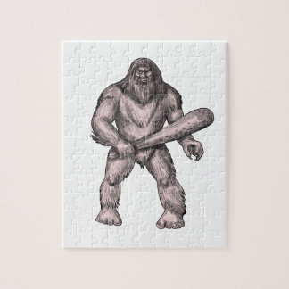 Bigfoot Holding Club Standing Tattoo Jigsaw Puzzle