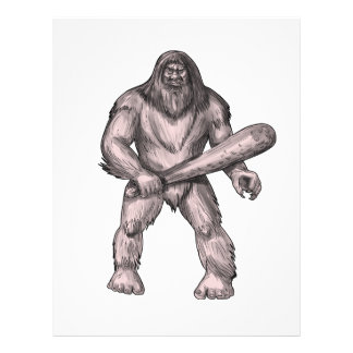 Bigfoot Holding Club Standing Tattoo Letterhead