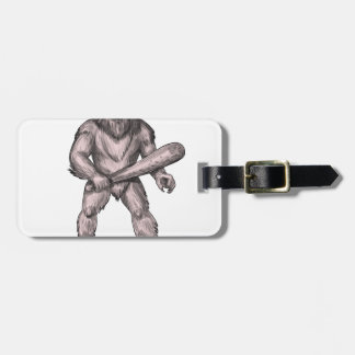 Bigfoot Holding Club Standing Tattoo Luggage Tag