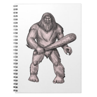 Bigfoot Holding Club Standing Tattoo Notebooks