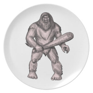 Bigfoot Holding Club Standing Tattoo Party Plate