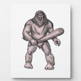 Bigfoot Holding Club Standing Tattoo Plaque