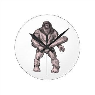 Bigfoot Holding Club Standing Tattoo Round Clock