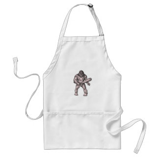 Bigfoot Holding Club Standing Tattoo Standard Apron