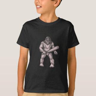 Bigfoot Holding Club Standing Tattoo T-Shirt