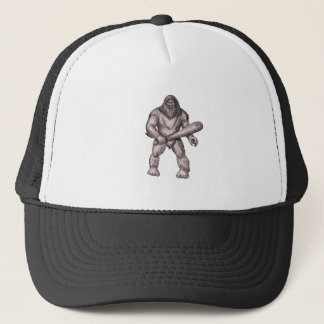 Bigfoot Holding Club Standing Tattoo Trucker Hat