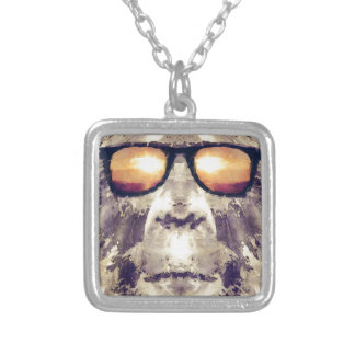 Bigfoot In Shades Silver Plated Necklace