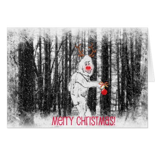 Bigfoot in the Forest Christmas Card