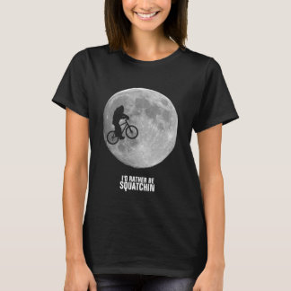 Bigfoot on bike with moon background T-Shirt