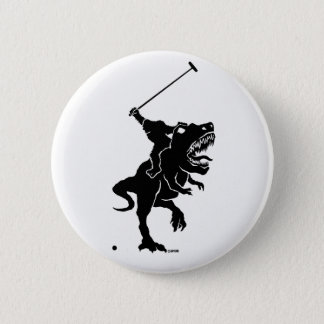 Bigfoot playing polo on a T-rex 2 Inch Round Button