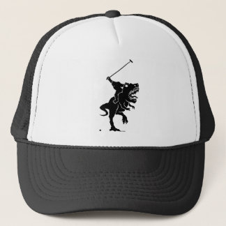 Bigfoot playing polo on a T-rex Trucker Hat