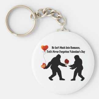 Bigfoot Remembers Valentine's Day Basic Round Button Keychain
