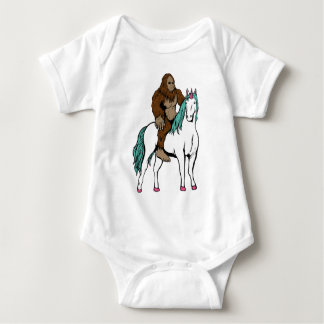 Bigfoot Riding a Unicorn Baby Bodysuit