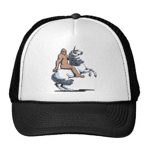 Bigfoot Riding a Unicorn Trucker Hats