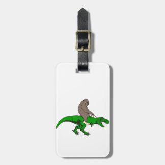 Bigfoot riding T Rex Bag Tag