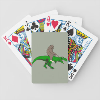 Bigfoot riding T Rex Bicycle Playing Cards