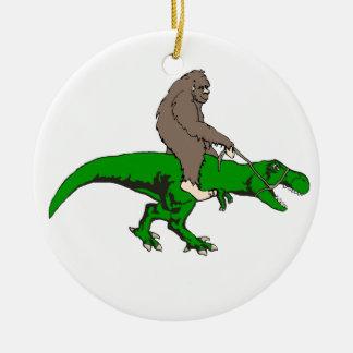 Bigfoot riding T Rex Ceramic Ornament
