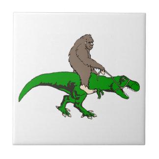 Bigfoot riding T Rex Ceramic Tiles