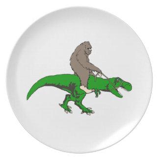 Bigfoot riding T Rex Dinner Plate