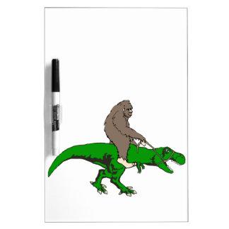 Bigfoot riding T Rex Dry Erase Whiteboard