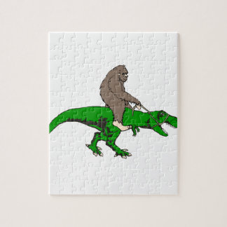 Bigfoot riding T Rex Jigsaw Puzzle