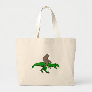 Bigfoot riding T Rex Large Tote Bag