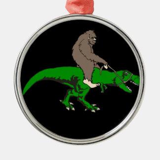 Bigfoot riding T Rex Metal Ornament
