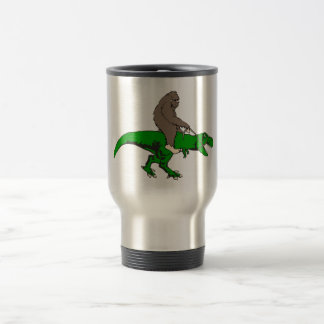 Bigfoot riding T Rex Travel Mug