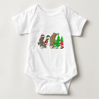 Bigfoot Santa snowman Baby Bodysuit