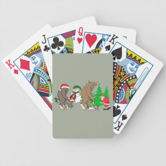 Bigfoot Santa snowman Bicycle Playing Cards