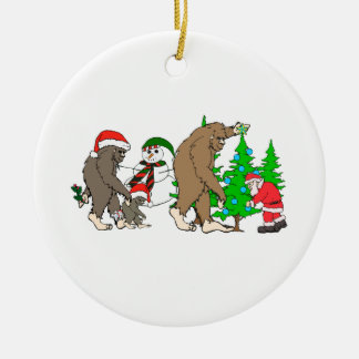 Bigfoot Santa snowman Ceramic Ornament
