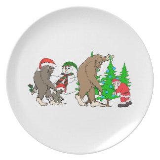 Bigfoot Santa snowman Dinner Plates