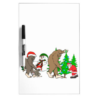Bigfoot Santa snowman Dry Erase Board