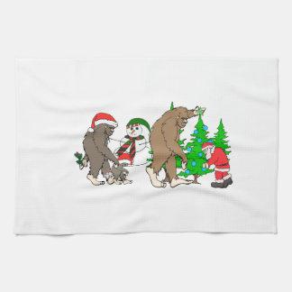 Bigfoot Santa snowman Hand Towels