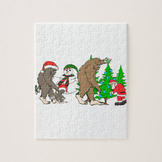 Bigfoot Santa snowman Jigsaw Puzzle