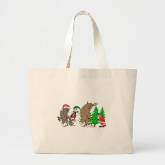 Bigfoot Santa snowman Large Tote Bag