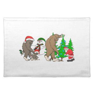 Bigfoot Santa snowman Placemat