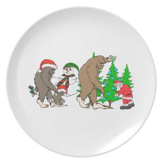 Bigfoot Santa snowman Plate