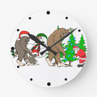 Bigfoot Santa snowman Round Clock